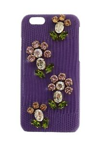 fb6bb013a4 NEW $600 DOLCE & GABBANA Phone Case Cover Purple Leather Crystal ...