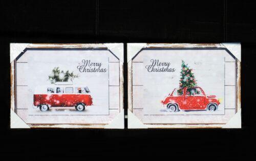Deko Bild Merry Christmas 2 Mod VW Bus od.Auto Tanne Nordisch Shabby Holz 30x40