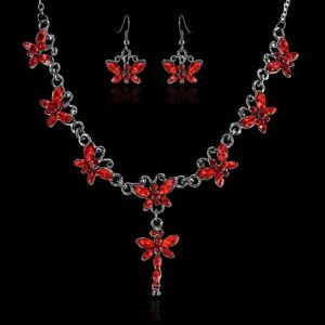 1 Set New Women Butterfly Wedding Bridal Crystal Necklace Earrings Jewelry Gift