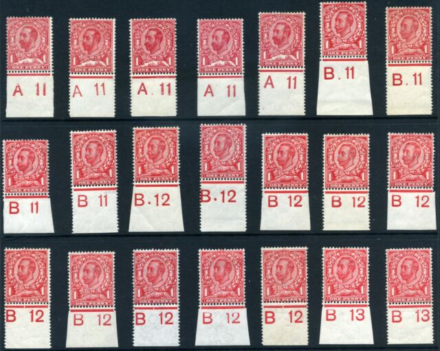 1911-13 KGV Downey Head 1d Control Singles SG 327, 329, 342, 350, 345