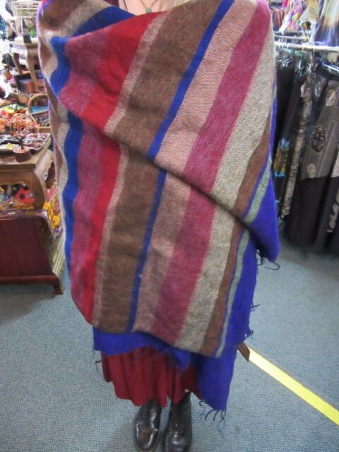 Warm Cosy Soft Striped Colourful Nepalese Yak Wool Mix Winter Shawl / Throw