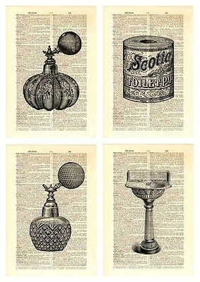 Upcycled Vintage Dictionary Book Page Wall Art Prints - Bathroom & Laundry