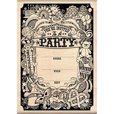 Party Invitation Wood Mounted Rubber Stamp Inkadinkado NEW balloon carnival fun