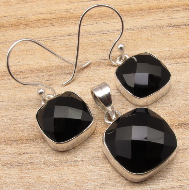 925 Sterling Silver Plated MATCHING Jewelry, BLACK ONYX Earrings & Pendant SET
