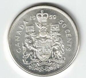 CANADA-1959-50-CENT-HALF-DOLLAR-QUEEN-ELIZABETH-CANADIAN-800-SILVER-COIN