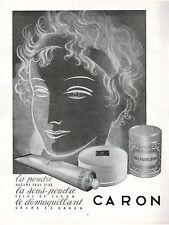 ▬► PUBLICITE ADVERTISING AD Produits de beauté CARON Maquillage poudre 1954