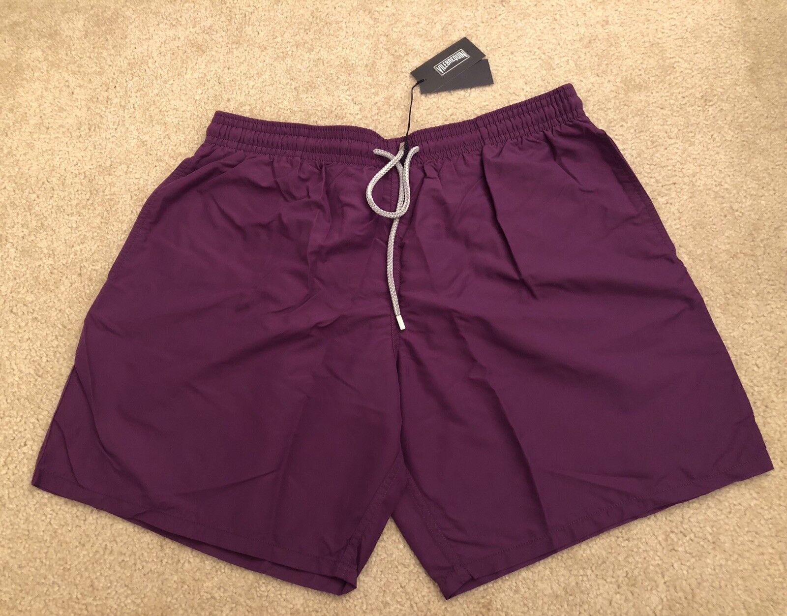 New w Tags Authentic Vilebrequin Moorea Swim Trunks Men - Purple Plum XXXL - 3XL