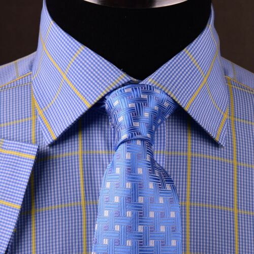 Blue Yellow Plaids /& Checks Mens Dress Shirt Short Sleeve Business Casual Formal