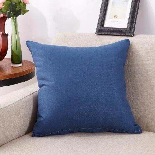 "18/"" Square Solid Cotton Cushion Cover Sofa Car Throw Pillow Case Home Decor"