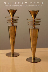 SAUCERS-VTG-MID-CENTURY-ATOMIC-MODERN-BRASS-CANDLE-HOLDERS-JETSONS-SPACE-AGE