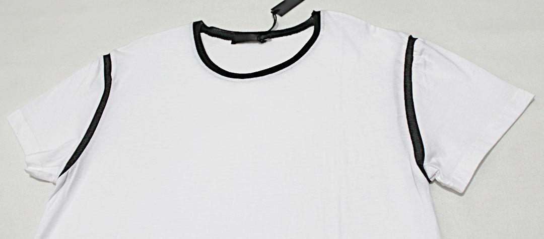 218 DIWON Avant-Garde Cashmere-Silk Ribbed-Seam Weiß Tee T-Shirt Medium