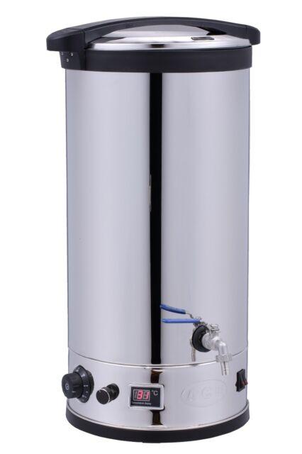 ACE BEER MASH TUN 30ltr DIGITAL Boiler, S/S  1/2 bsp VALVE & STRAINER INSIDE