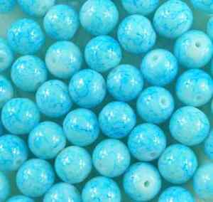 50Pcs 8mm Light Blue Lampwork Round Glass Spacer Loose Beads DIY Jewelry