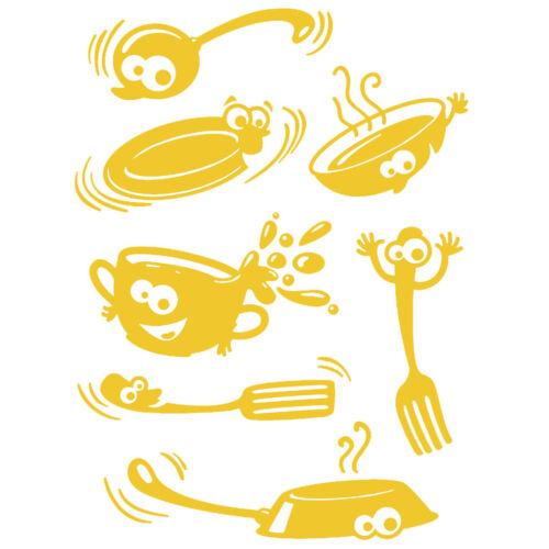 Sticker Cuisine Planche Ustensiles Rigolos 40x30cm Coloris Divers CUISE036