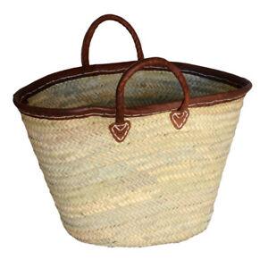 French-Market-Shopping-Basket-Bag-Leather-Trim-Carry-Bag-Storage-Home-Work