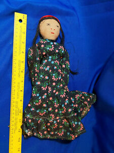 Antique-Folk-Art-Handmade-Rag-Cloth-Doll-World-International-VTG-Victorian-Dress