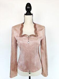 JOSEPH RIBKOFF Womens Pink Faux Suede Heart Zipper Jacket Sweetheart Neck Sz 4