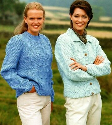 """Lady/'s Aran style Cardigan Knitting Pattern with collar in DK 30-36/"""" 981"""