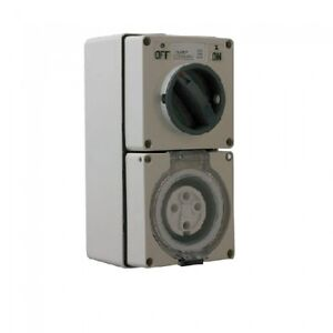 Industrial-Three-3-Phase-4-Pin-32-Amp-Switched-Socket-Outlet