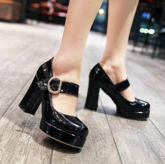 Womens Platform lolita Block Heel lady Court office prom shoes Size Party Pumps