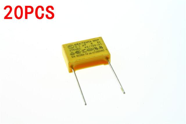 20pcs Polyproplene Safety Capacitor X2 275V 0.1uF 100nF 104K Pitch 15mm