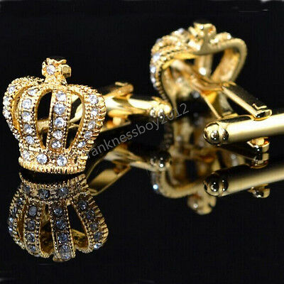 Gold Crown Crystal Silver Mens Stainless Steel Wedding Party shirt cufflinks