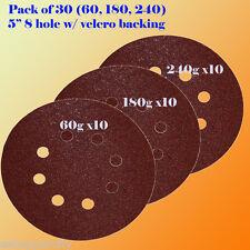 """5"""" 8 Hole 60 180 240 Grit Sanding Disc Random Orbit  Hook & Loop Sander Dewalt"""