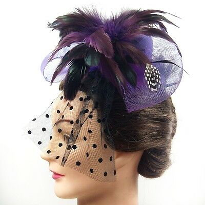 Fascinator - Bow Tie Hat with Face Veil  (Purple)