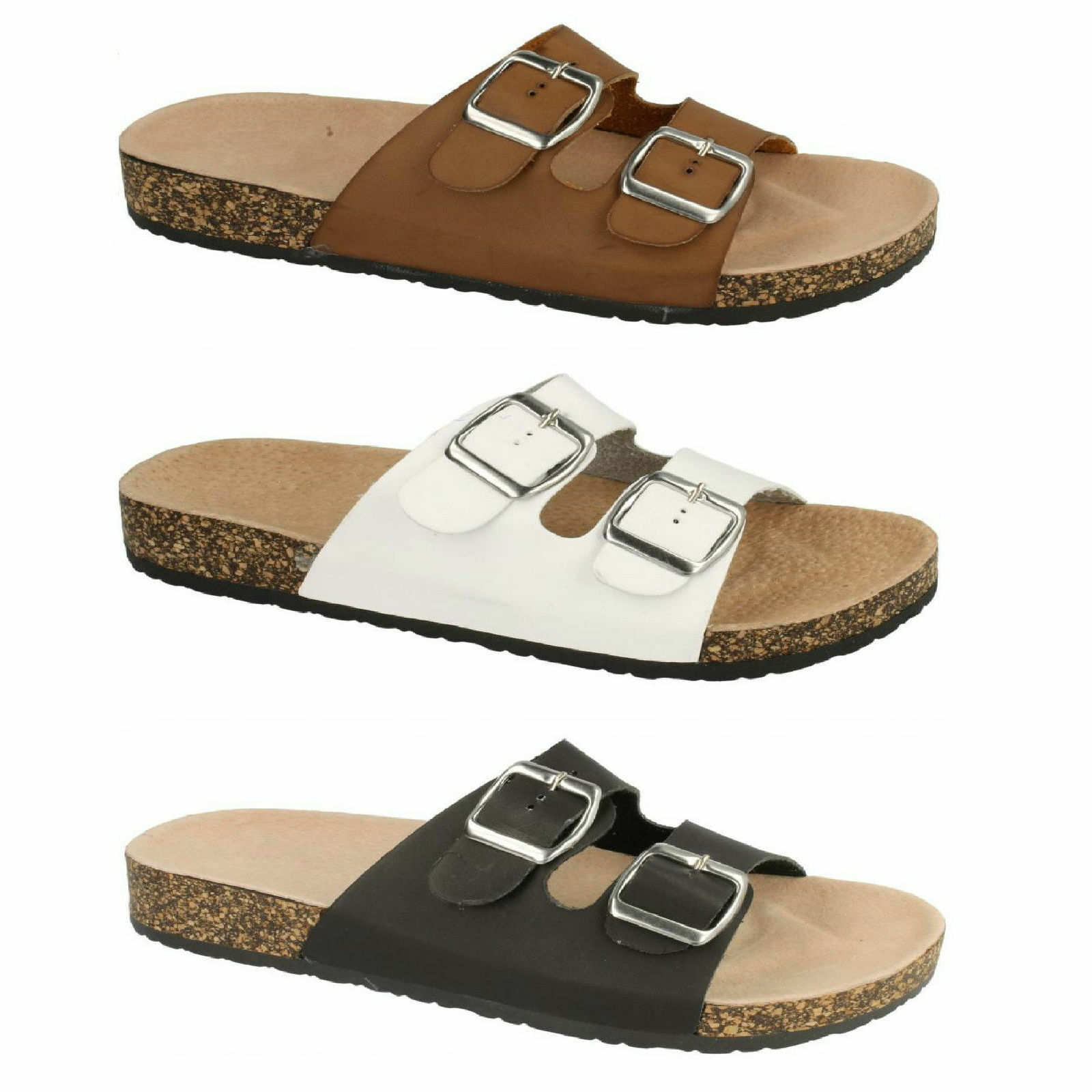 SALE F10292 Ladies Adjustable Mule Twin Buckle Strap Footbed Mule Adjustable Sandals 9c55aa