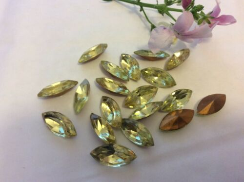 Vintage Czech Rhinestone Navette in Jonquil Foiled 15x7mm Pack of 12 CRAFT
