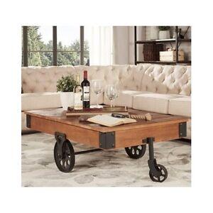 Industrial Coffee Table Cart Rustic Reclaimed Wood Metal