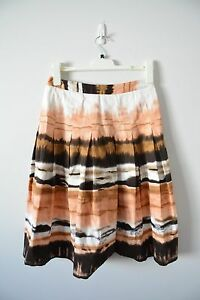COLORADO-Knife-Pleated-A-Line-Skirt-small-8-10-brown-pink-white-casual-corporate