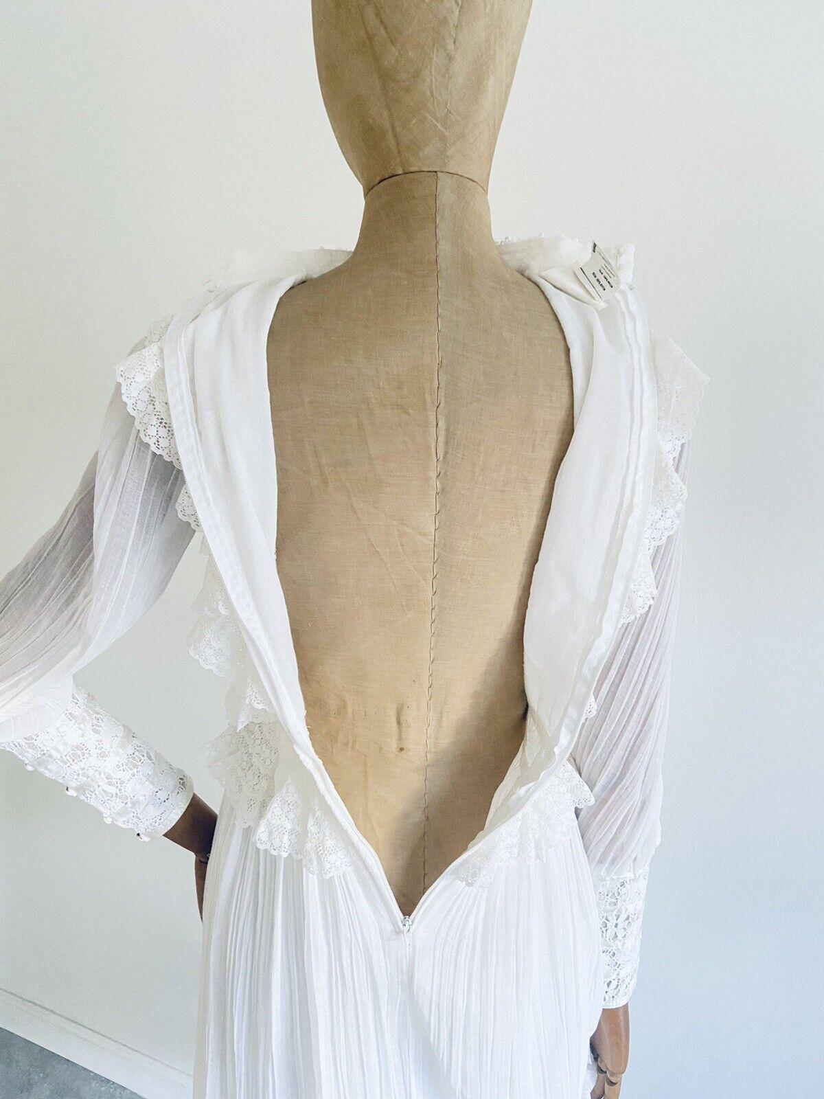 Vintage GUNNE SAX White Cotton Prairie Maxi Dress… - image 9