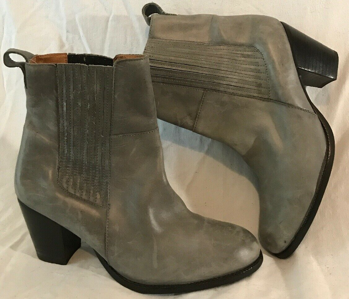 H&M Grey Ankle Leather Lovely Boots Size 41 (337Q)