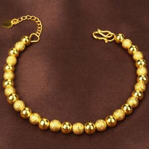 Fashion-Women-Jewelry-24K-Gold-Beads-Bracelet-Jewelry-Christmas-Gift-B