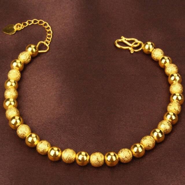 US  Women Jewelry 24K Gold Beads Bracelet Jewelry Christmas