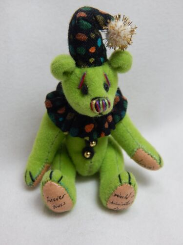 "World of Miniature Bears 2.5/"" Plush Bear Checkers-Green #1036 Collectible Bear"