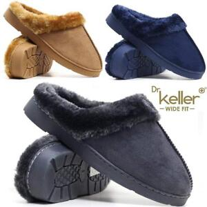 Ladies-Wide-Fit-Slippers-New-Womens-Faux-Suede-Warm-Fur-Winter-Mules-Shoes-Size