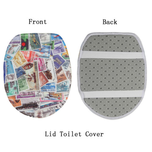 3PCS//Set Pattern Non-Slip Bathroom Pedestal Lid Mat Soft Bath Mat Toilet Rug Set