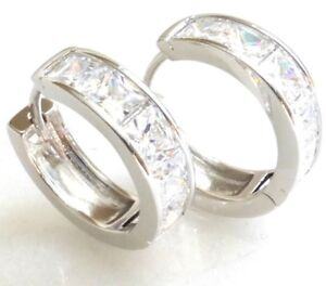Details About Huggie Hoop Earrings Cz Cubic Zirconia Crystal 17mm White Gold Plated Uk