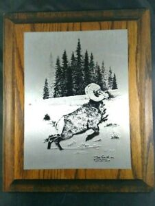 Vintage-Iminac-Nature-Etchings-Metal-Ram-by-D-Noel-Smith-Wall-Hanging-Plaque