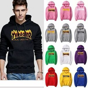 UK MEN WOMEN THRASHER HOODIE SWEATER HIP-HOP COUPLES SWEATS PINK ... 841a3f1f66