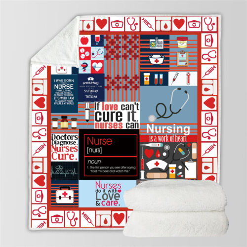 Nurse Funny 3D Print Sherpa Blanket Sofa Couch Quilt Cover Throw R23