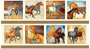 WILD-HORSES-FABRIC-MUSTANG-SUNSET-COTTON-PATCH-CREAM-QUILTING-TREASURE-23-034-x44-034