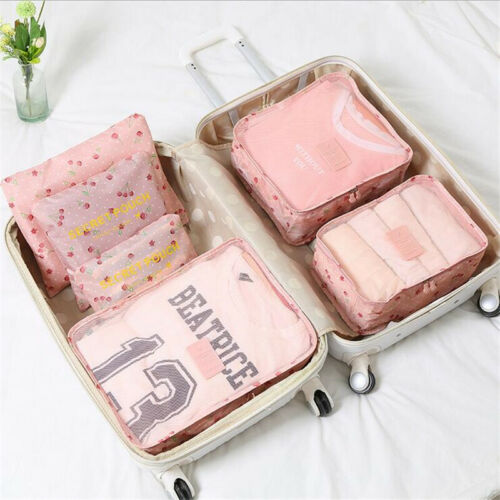 6PC//Set Travel Storage Bag Clothes Pouch Packing Cube Luggage Organizer Suitcase