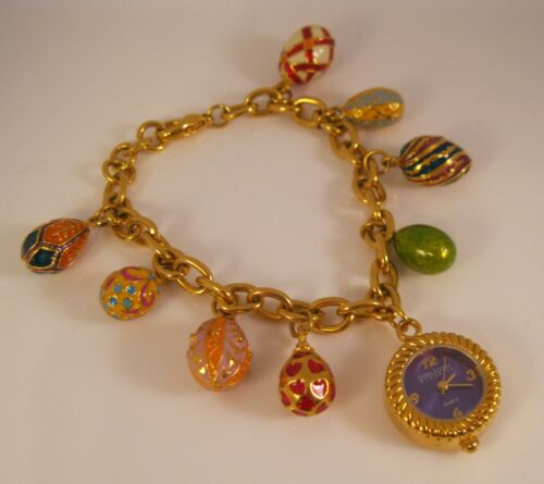 Vintage JOAN RIVERS Gold Plated Watch & Enamel Egg
