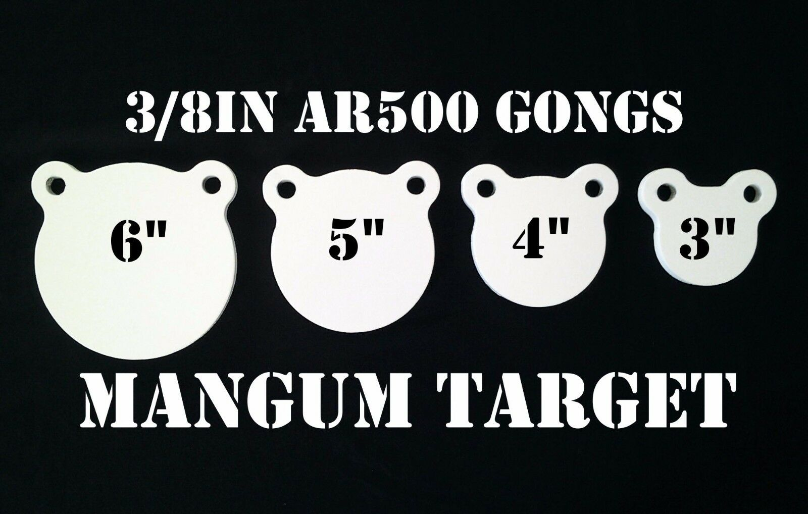 3,4,5&6in. AR500 Gong Shooting Targets - 3 8in.Rifle Targets - 4pc Steel Targets