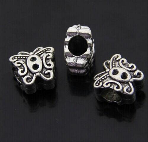 PJ244 10pcs Tibetan Silver butterfly Charm Beads Pendant accessories Wholesale