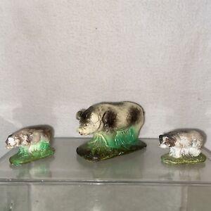 Vtg 3pc 1930-40's Miniature White Black Old Spot Gloucester MOMMA Pig Piglets