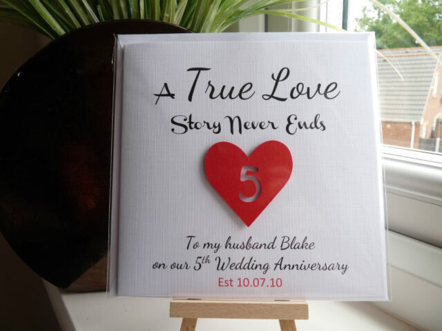 Handmade Personalised Wedding Anniversary Card ANY YEAR Husband Wife  Boyfriend